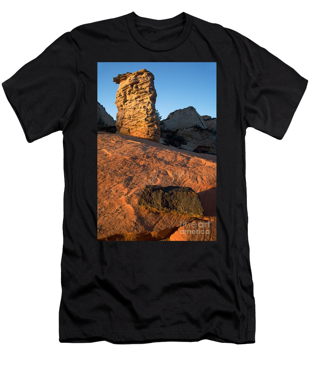 Autumn Men's T-Shirt (Athletic Fit) featuring the photograph Hoodoos At Sunset by Fred Stearns
