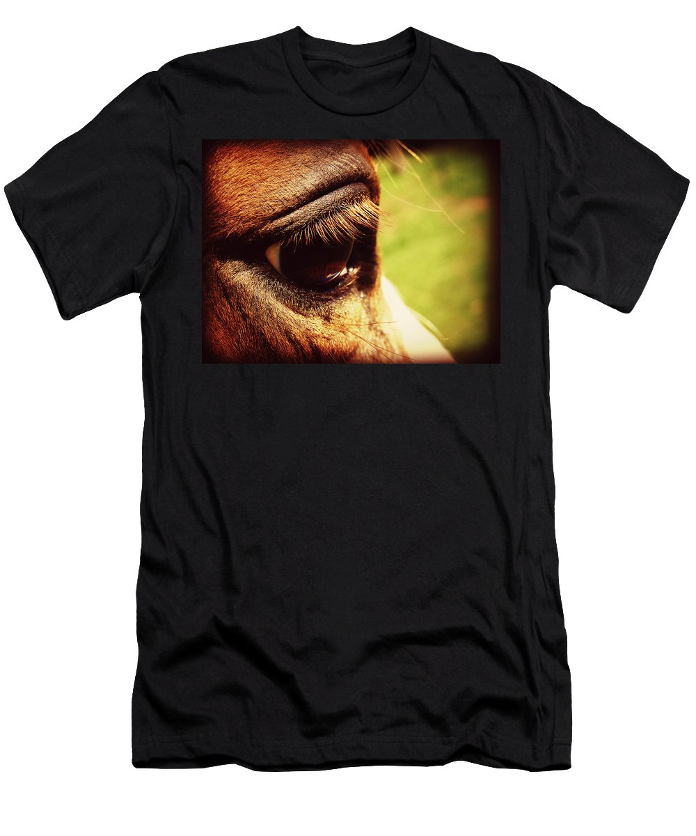 Horse Men's T-Shirt (Athletic Fit) featuring the photograph Horse Eye by Cassie Peters
