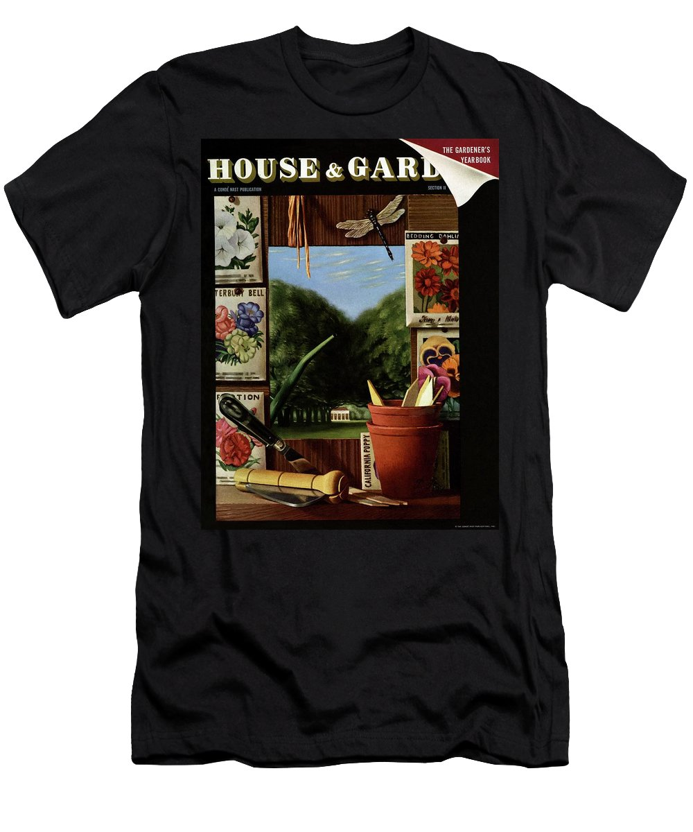 House And Garden Men's T-Shirt (Athletic Fit) featuring the photograph House And Garden Cover 1 by Pierre Roy