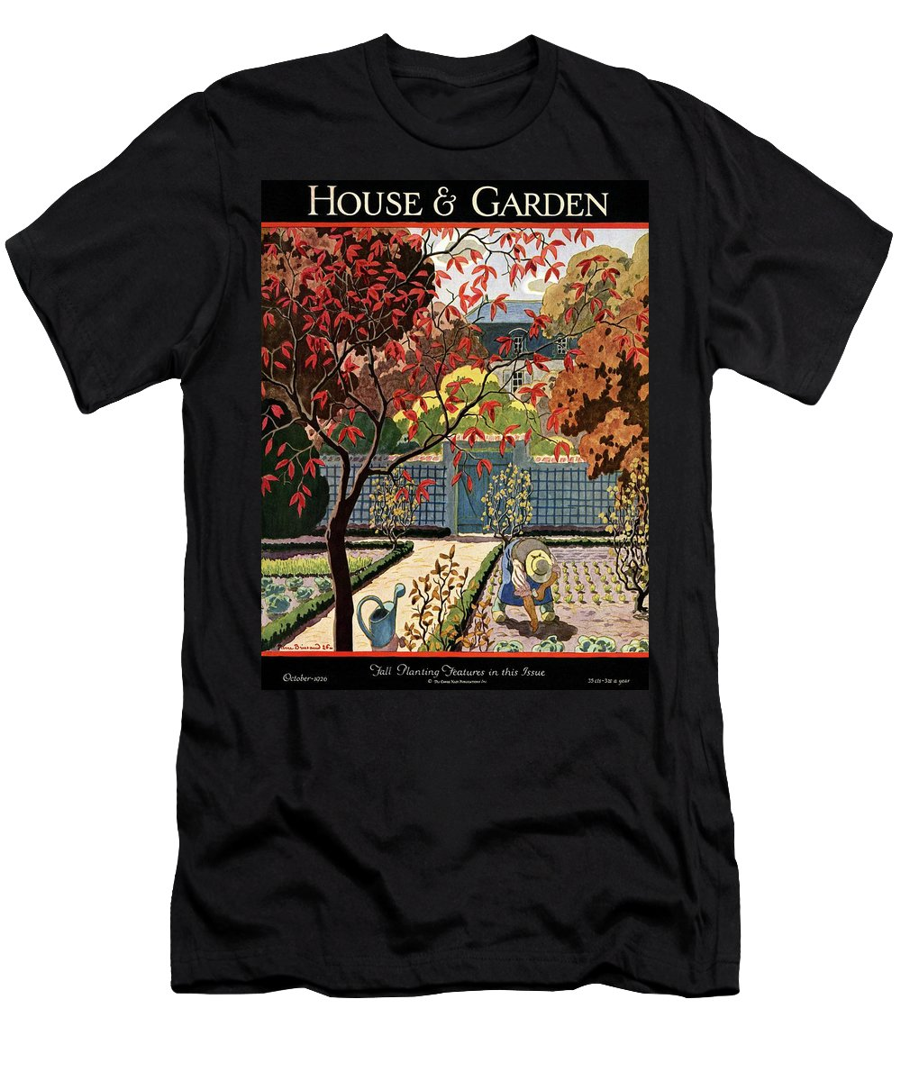 House And Garden T-Shirt featuring the photograph House And Garden Fall Planting Number Cover by Pierre Brissaud