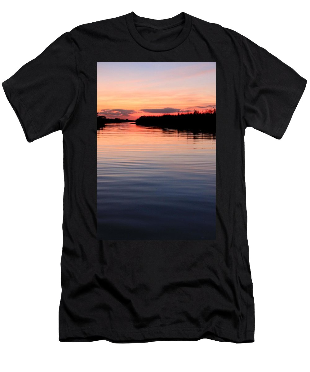 Water Sunset Ocean Everglades Florida Pink Blue Beautiful Spectacular Peace Relaxation Smooth Water Men's T-Shirt (Athletic Fit) featuring the photograph Hypnosis by AR Annahita