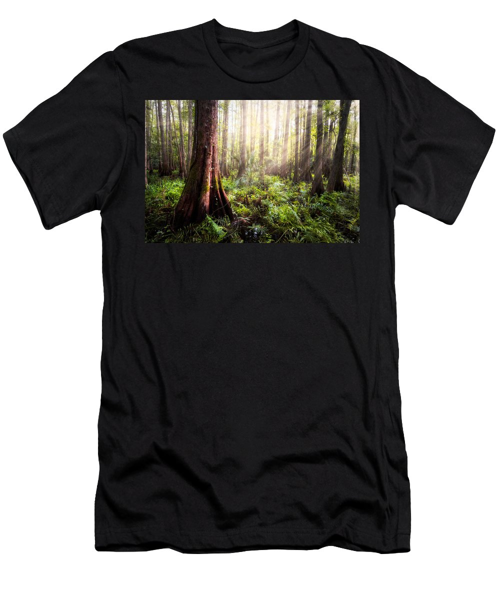 Clouds Men's T-Shirt (Athletic Fit) featuring the photograph In The Beginning by Debra and Dave Vanderlaan