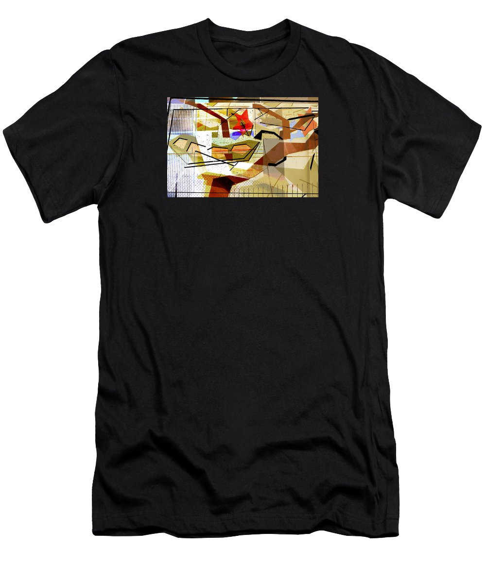 Interstate 10 Men's T-Shirt (Athletic Fit) featuring the digital art Interstate 10- Exit Out West- Where Life Begins New- Rectangle Remix by Arthur BRADford Klemmer