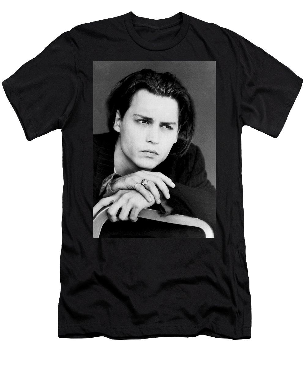 Johnny Depp Men's T-Shirt (Athletic Fit) featuring the photograph Johnny Depp by Karon Melillo DeVega