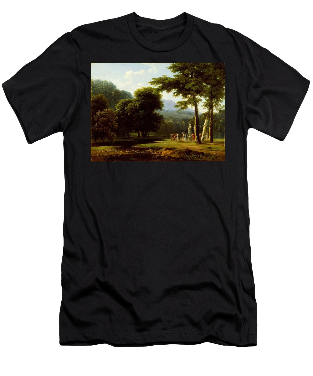 Jean-victor Bertin Men's T-Shirt (Athletic Fit) featuring the painting Landscape by Jean-Victor Bertin