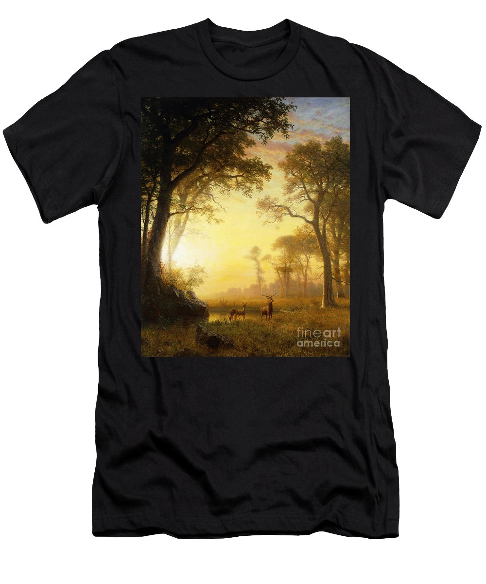 19th Century Men's T-Shirt (Athletic Fit) featuring the painting Light In The Forest by Albert Bierstadt