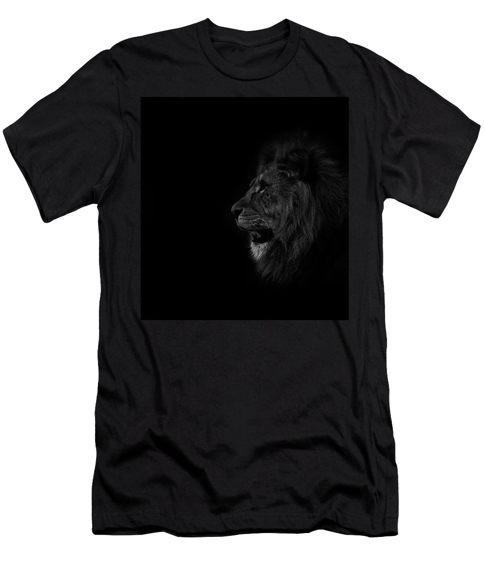 Lion Men's T-Shirt (Athletic Fit) featuring the photograph Lions Roar by Martin Newman