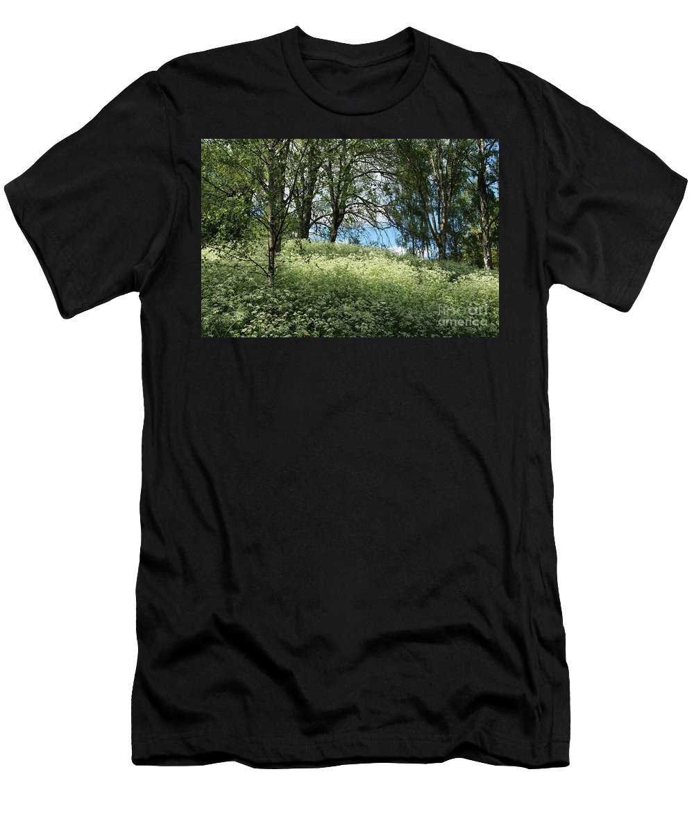 Spring Men's T-Shirt (Athletic Fit) featuring the photograph Meadow And Trees In Spring. Vitabergsparken, Stockholm, Sweden. by Kerstin Ivarsson