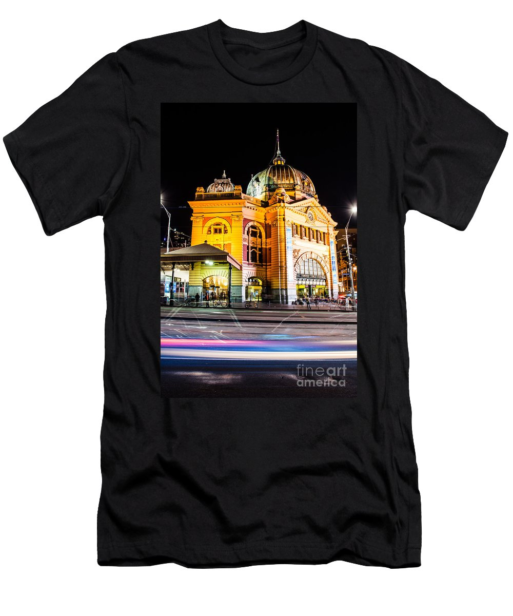 River Men's T-Shirt (Athletic Fit) featuring the photograph Melbourne At Night by Mariusz Prusaczyk