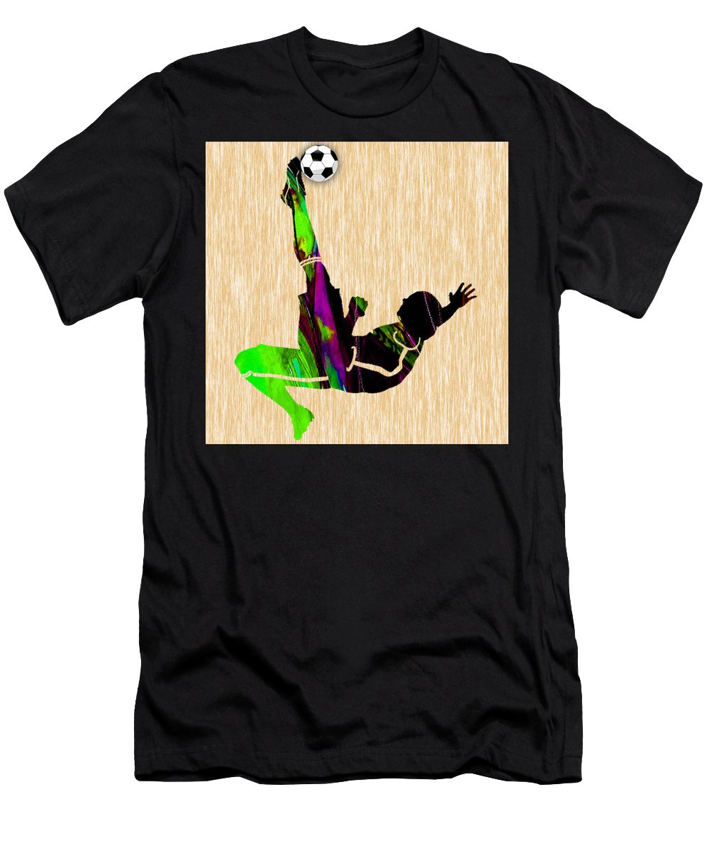 Soccer Men's T-Shirt (Athletic Fit) featuring the mixed media Womans Soccer by Marvin Blaine