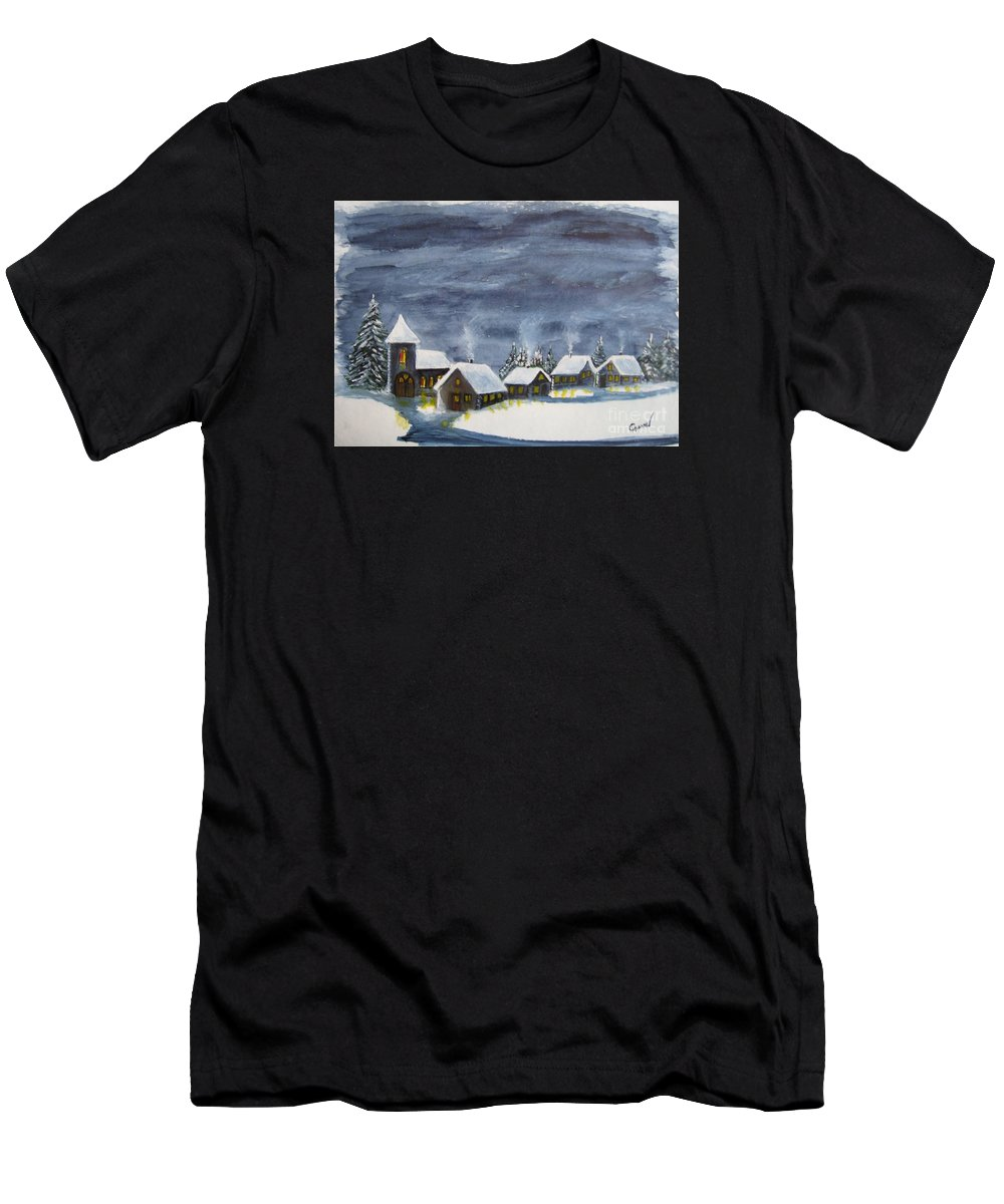 Christmas Men's T-Shirt (Athletic Fit) featuring the painting Merry Christmas 1 by Christine Huwer