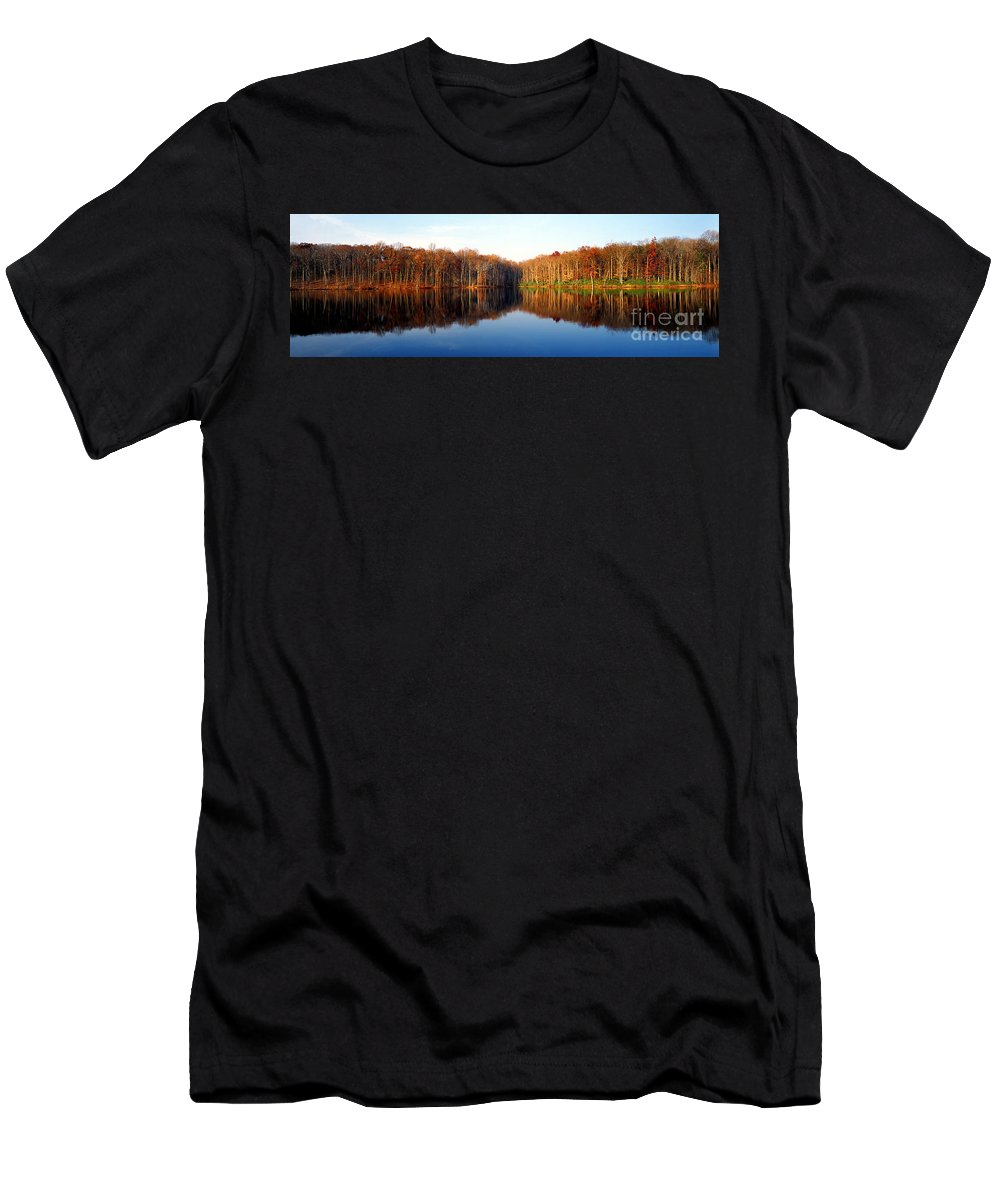 Lake Men's T-Shirt (Athletic Fit) featuring the photograph Mirror Lake Panoramic by Mike Nellums