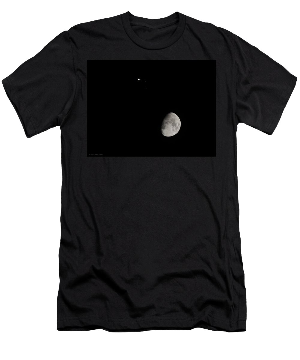 Moon Men's T-Shirt (Athletic Fit) featuring the photograph Moon And Jupiter Conjunction by Matt Taylor