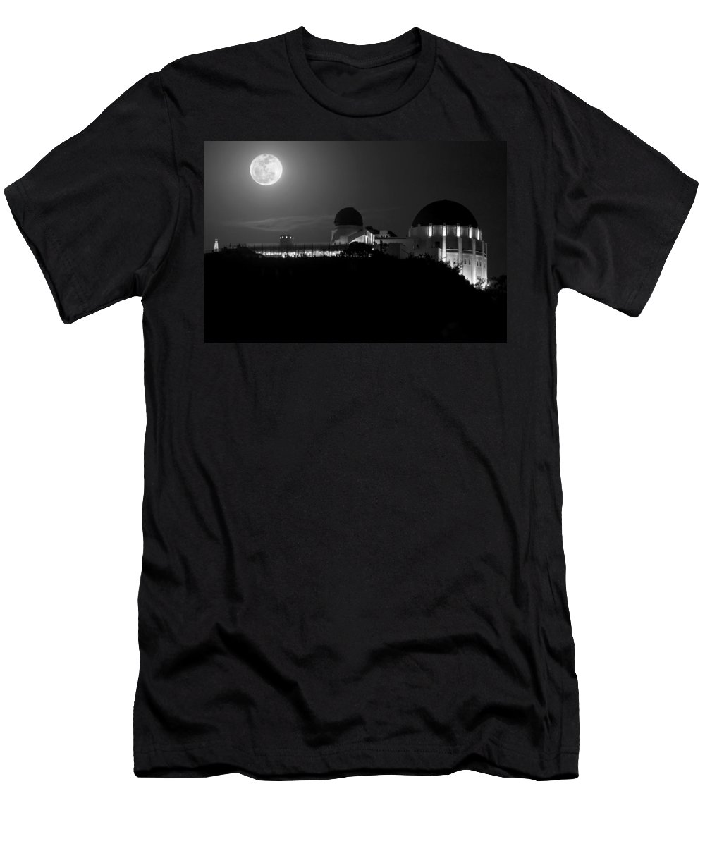 Men's T-Shirt (Athletic Fit) featuring the photograph Moon Over Griffith Observatory by Mike Herdering