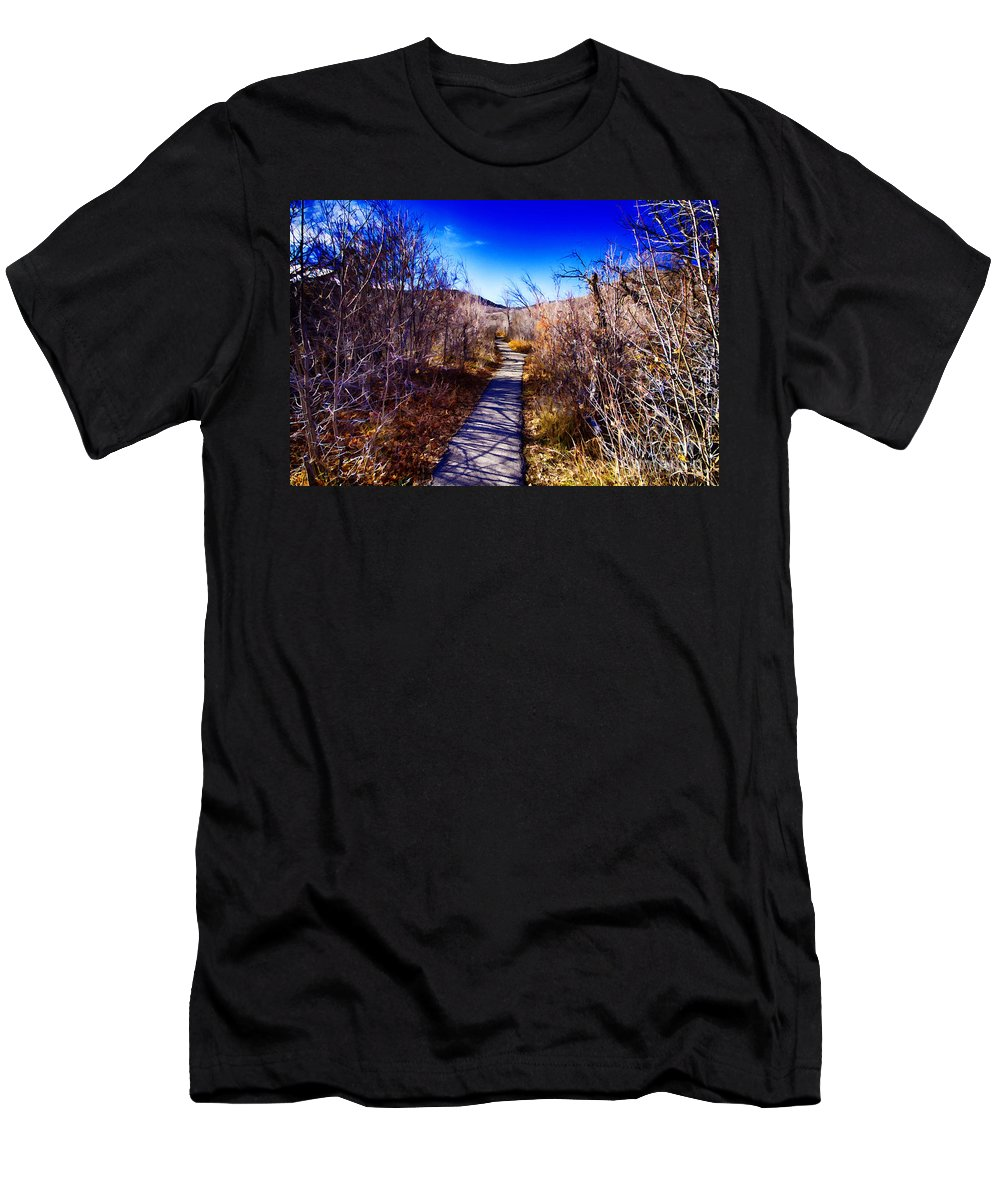 Ice Men's T-Shirt (Athletic Fit) featuring the photograph Mountain Creek Path-sundance Utah by Douglas Barnard