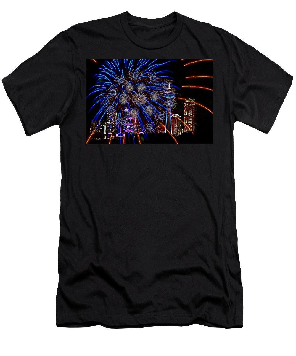 Niagara Falls Men's T-Shirt (Athletic Fit) featuring the photograph Niagara Fireworks by Alice Gipson