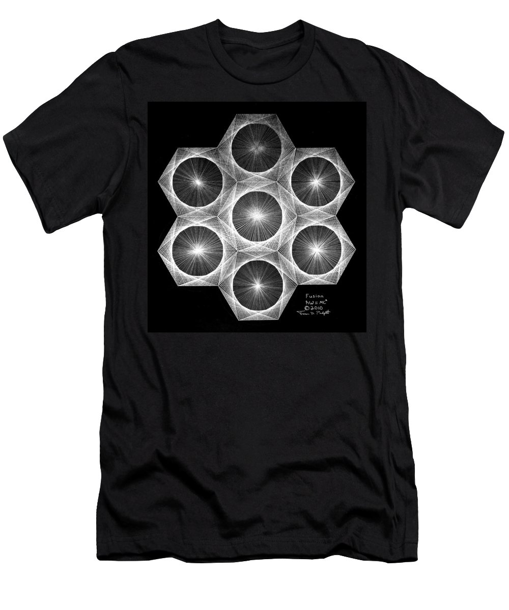 Fractal Men's T-Shirt (Athletic Fit) featuring the drawing Nuclear Fusion by Jason Padgett