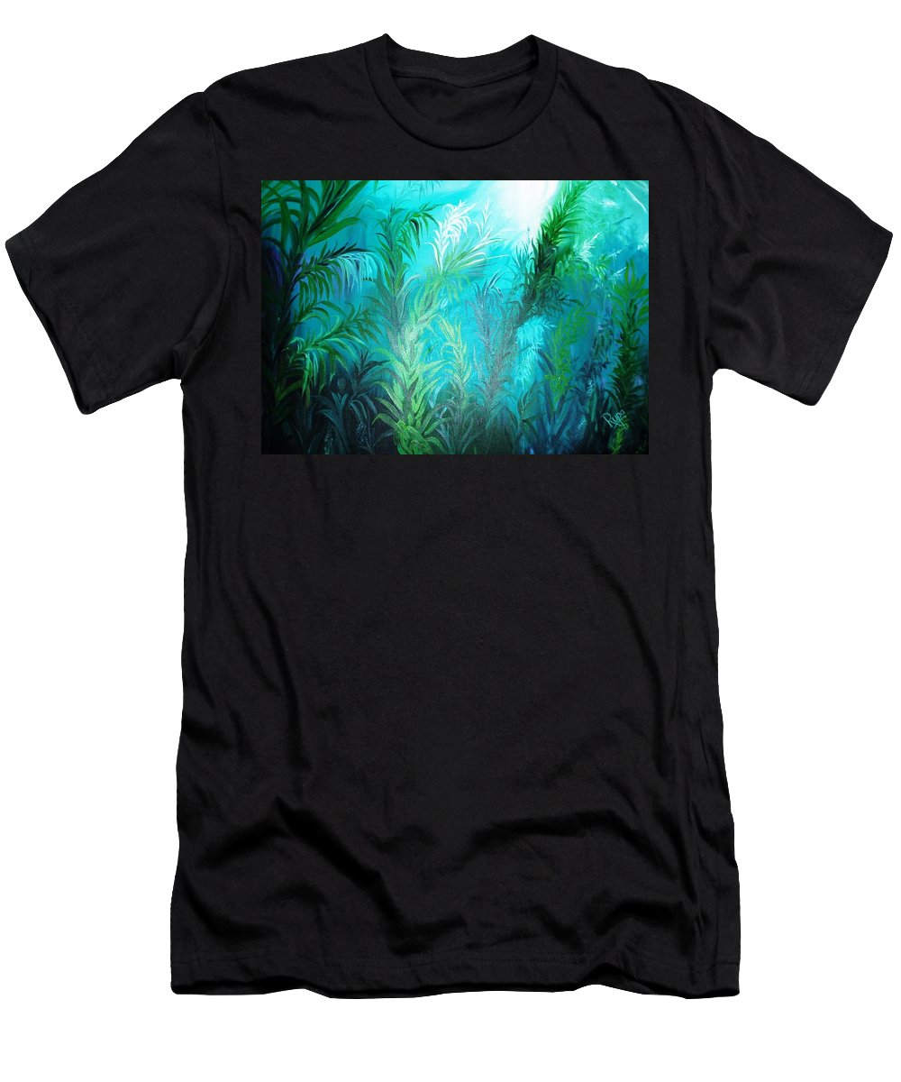 Ocean Men's T-Shirt (Athletic Fit) featuring the painting Ocean Plants by Rupa Prakash