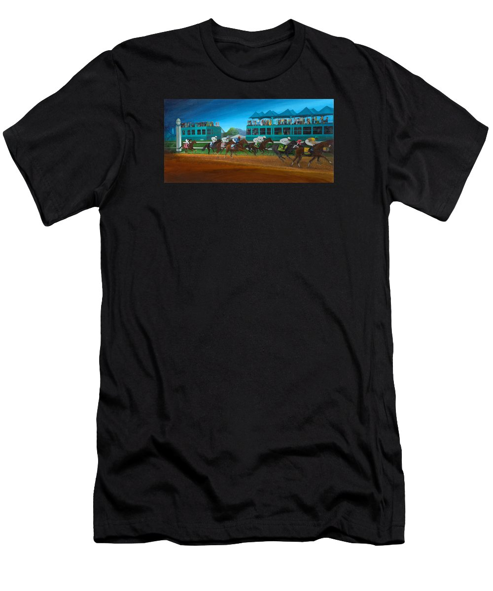Horse Men's T-Shirt (Athletic Fit) featuring the painting Odds Are Not by Sherryl Lapping