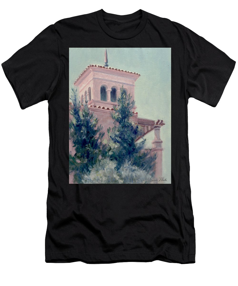 Landscape Men's T-Shirt (Athletic Fit) featuring the painting Old Bell Tower by Sarah Parks