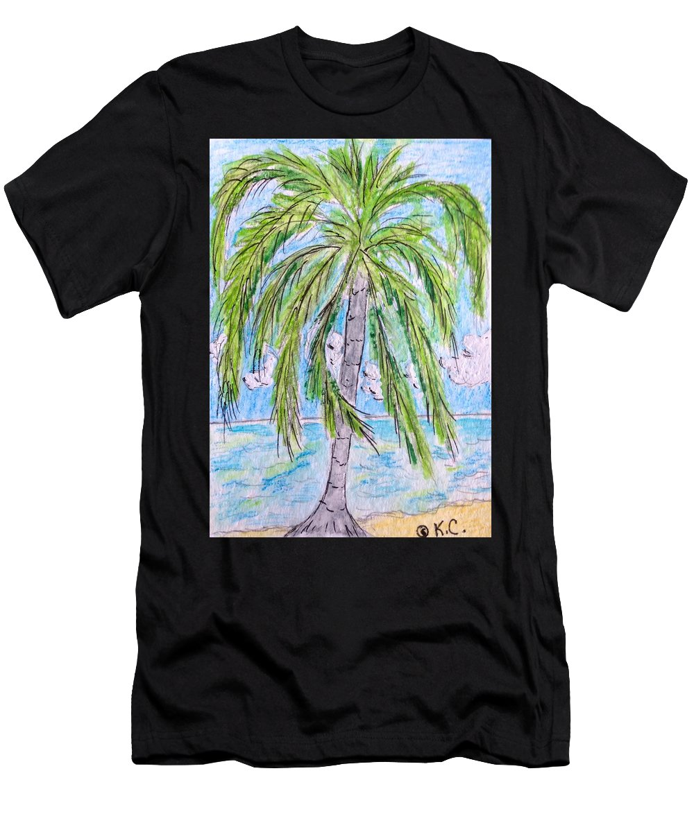 Beach Men's T-Shirt (Athletic Fit) featuring the painting On The Beach by Kathy Marrs Chandler
