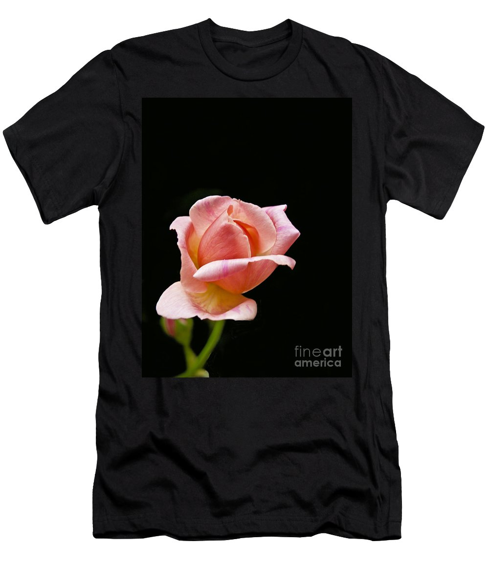 Flower Men's T-Shirt (Athletic Fit) featuring the photograph Orange Rose Bud by Howard Stapleton