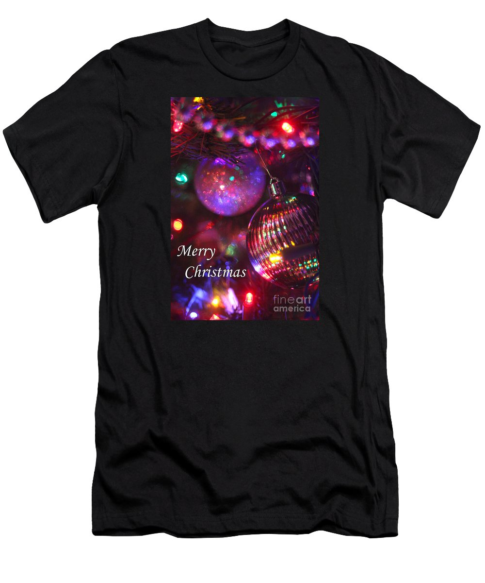Merry Christmas Men's T-Shirt (Athletic Fit) featuring the photograph Ornaments-2160-merrychristmas by Gary Gingrich Galleries
