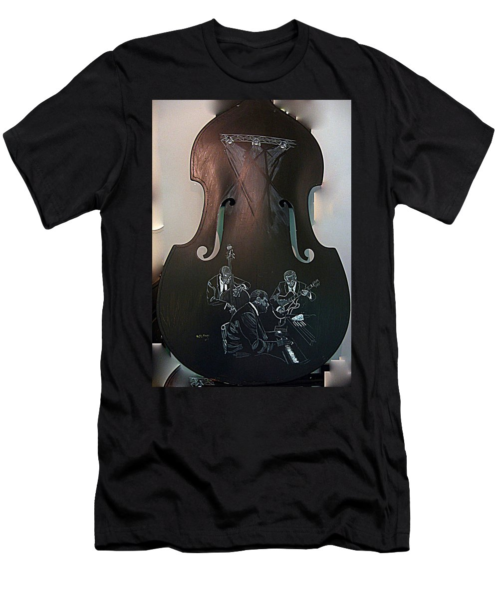 Oscar Men's T-Shirt (Athletic Fit) featuring the painting Oscar Peterson Trio by Richard Le Page