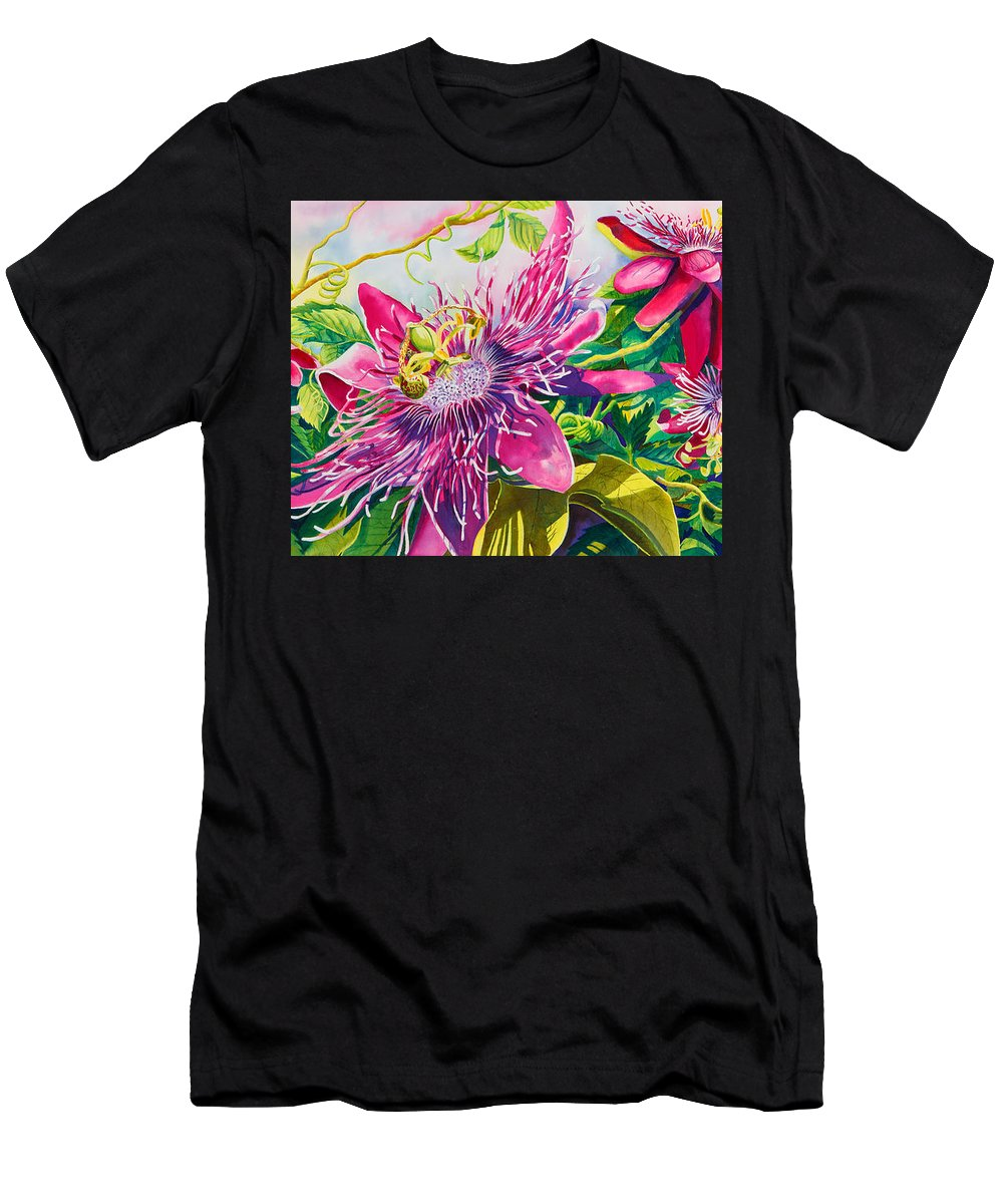 Passionflower Men's T-Shirt (Athletic Fit) featuring the painting Passionflower Party by Janis Grau