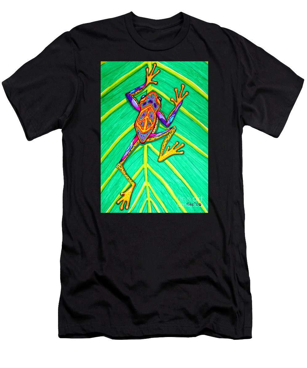 Frog Men's T-Shirt (Athletic Fit) featuring the mixed media Peace Frog by Nick Gustafson