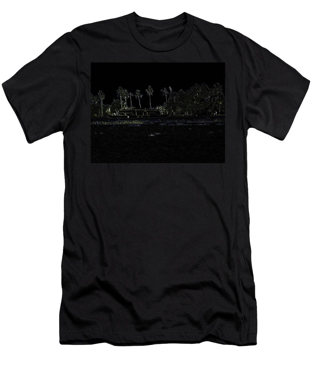 Backwater Men's T-Shirt (Athletic Fit) featuring the digital art Pencil - A Houseboat On Its Quiet Sojourn Through The Backwaters by Ashish Agarwal