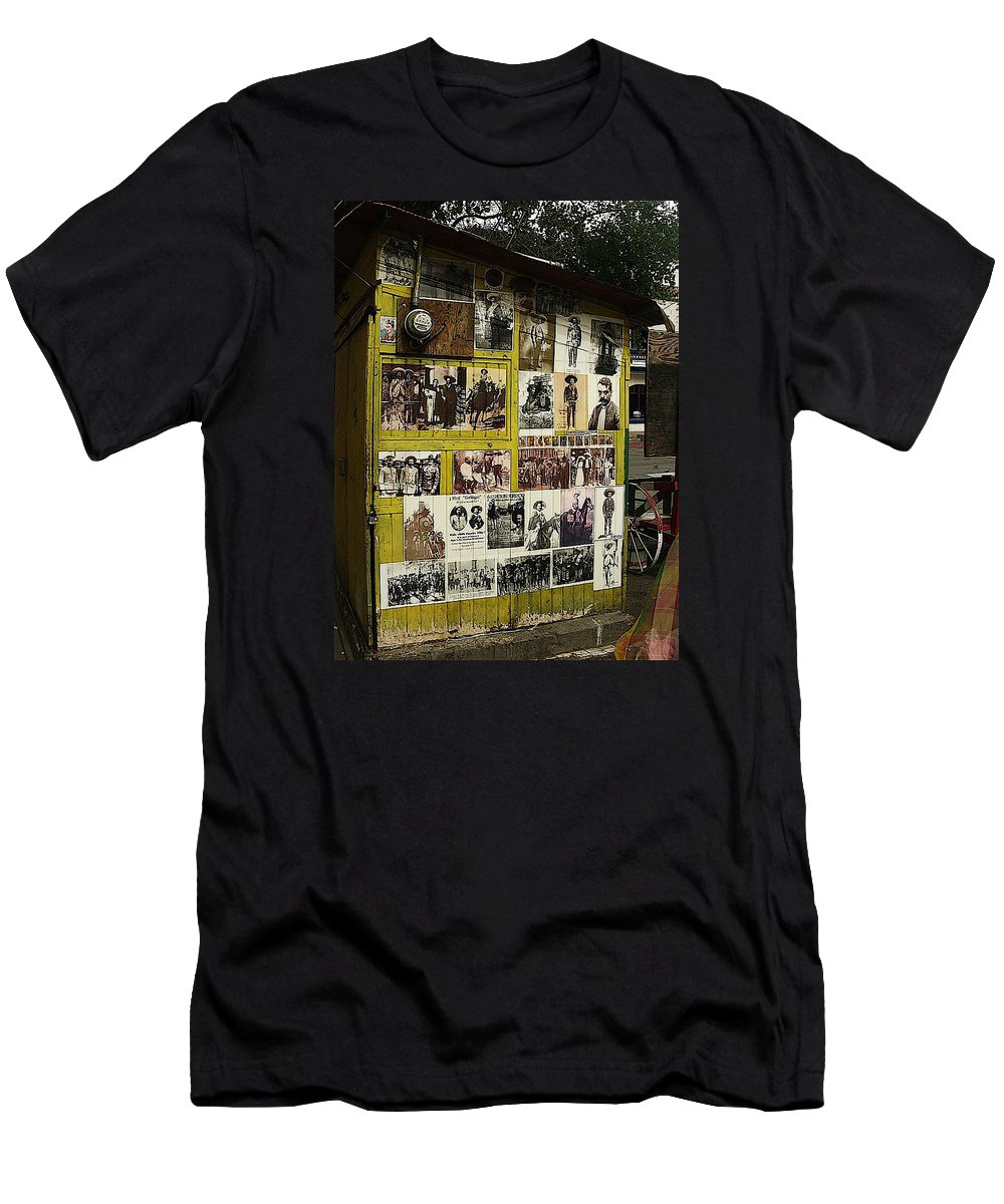 Photos Mexican Revolution Street Photographer's Shed Nogales Sonora Mexico 2003 Men's T-Shirt (Athletic Fit) featuring the photograph Photos Mexican Revolution Street Photographer's Shed Nogales Sonora Mexico 2003 by David Lee Guss