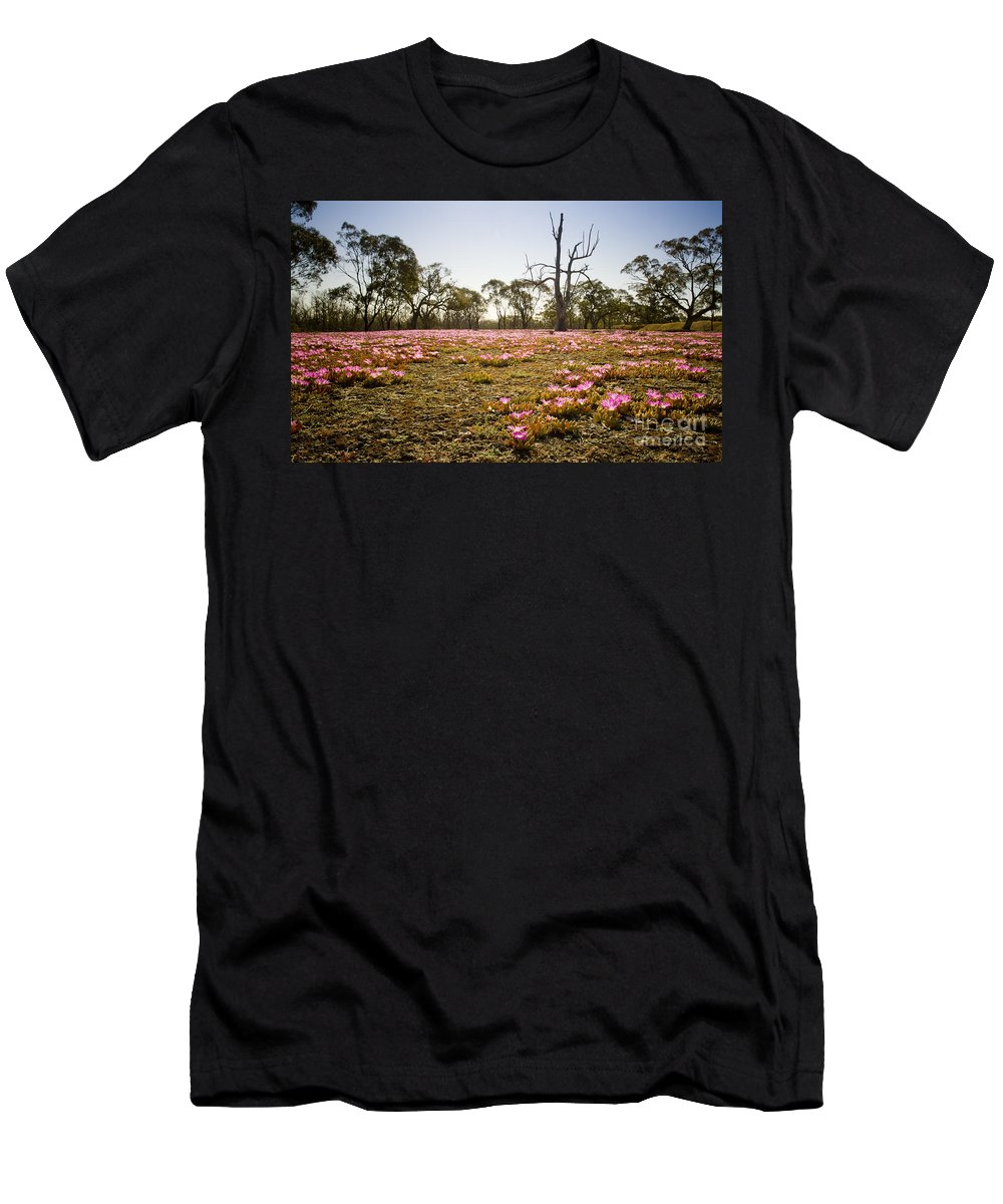 Flora Men's T-Shirt (Athletic Fit) featuring the photograph Pink Wildflowers by Tim Hester