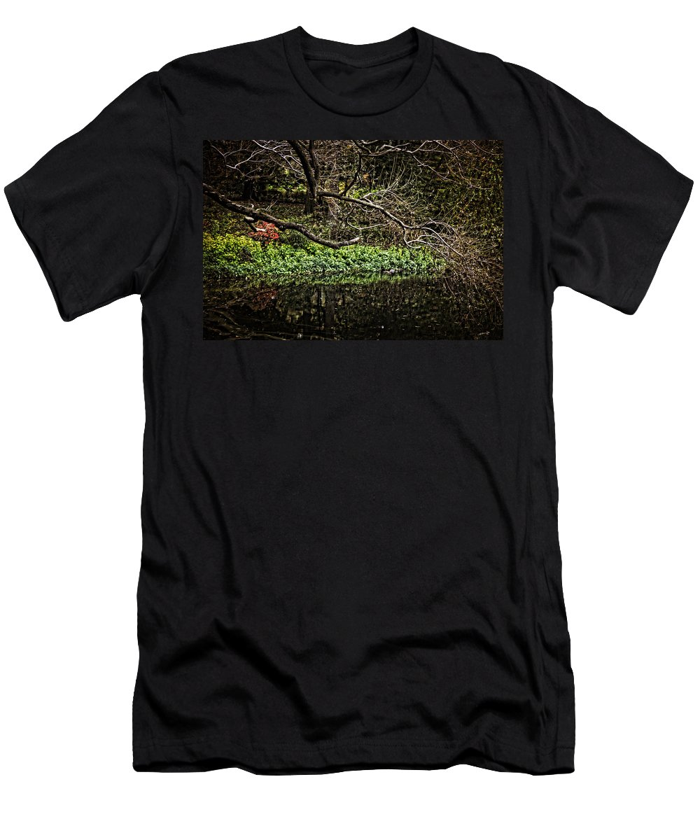 Pond Men's T-Shirt (Athletic Fit) featuring the photograph Pond Reflection by Madeline Ellis