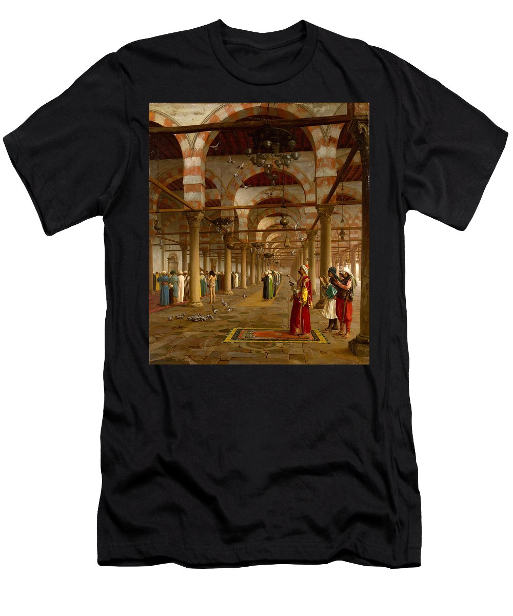 Jean-leon Gerome Men's T-Shirt (Athletic Fit) featuring the painting Prayer In The Mosque by Jean-Leon Gerome