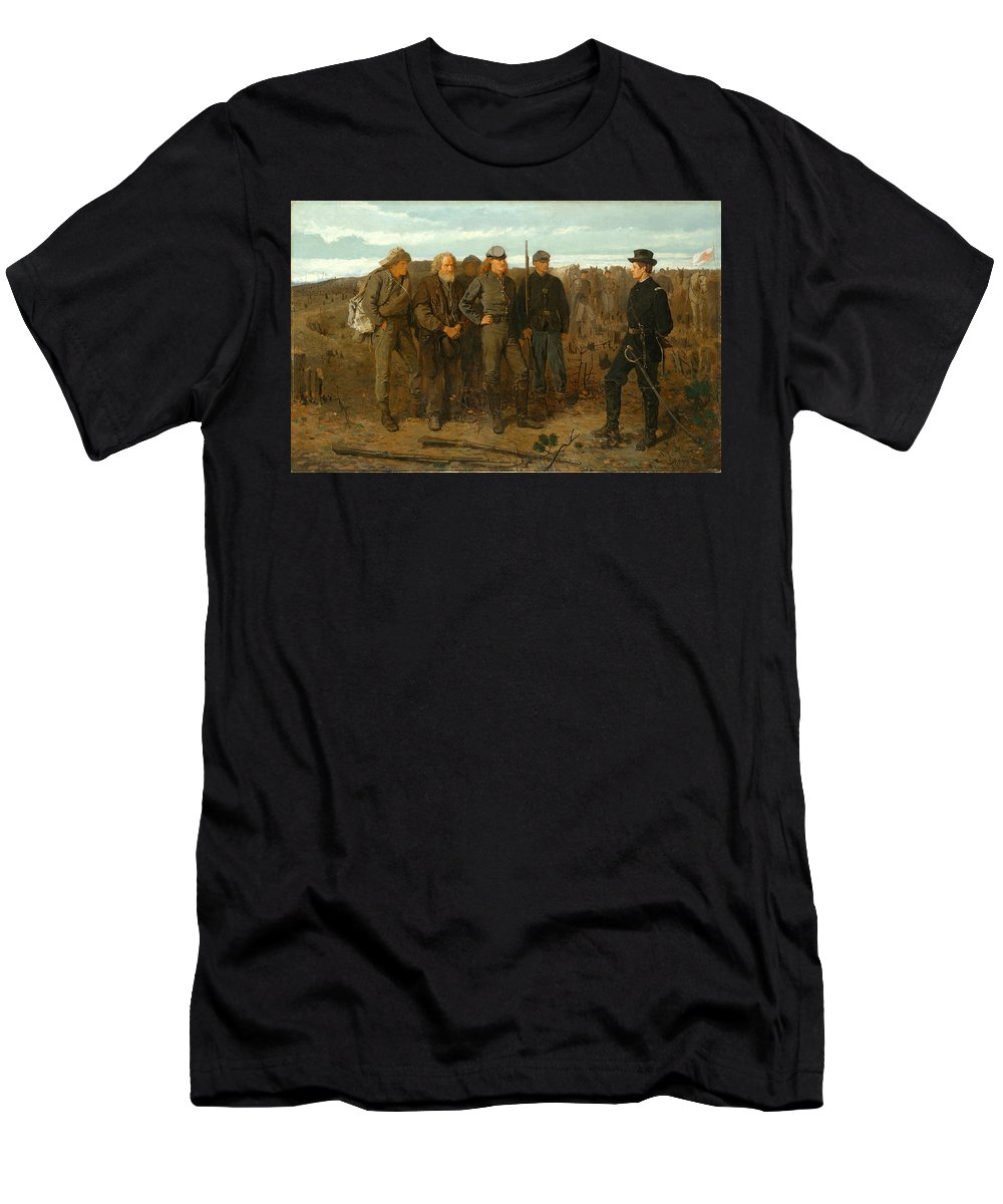Winslow Homer Men's T-Shirt (Athletic Fit) featuring the painting Prisoners From The Front by Winslow Homer