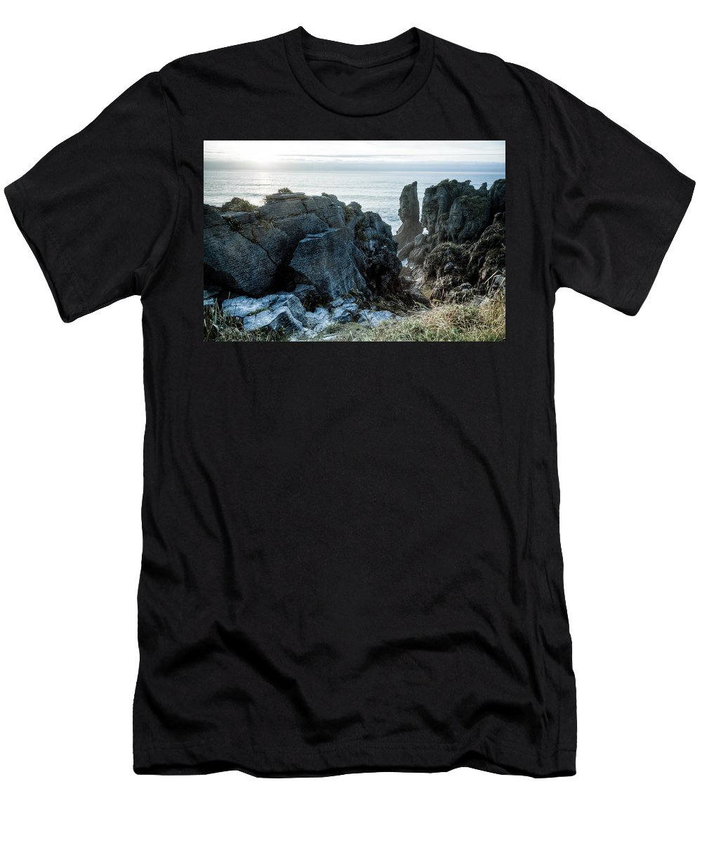 Rock Men's T-Shirt (Athletic Fit) featuring the photograph Punakaiki Pancake Rocks by Alexey Stiop
