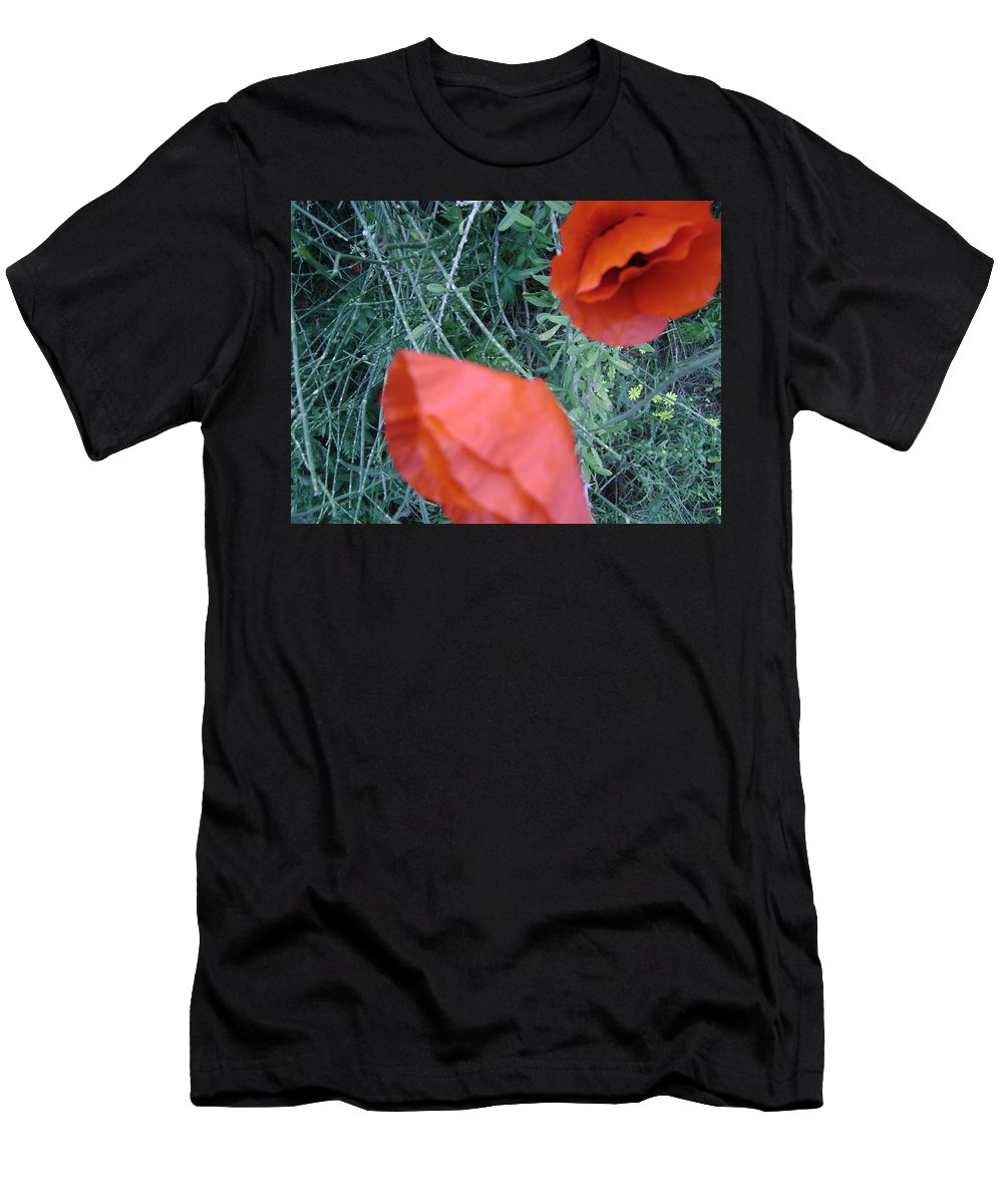 Flowers Men's T-Shirt (Athletic Fit) featuring the photograph Red Flower by Moshe Harboun