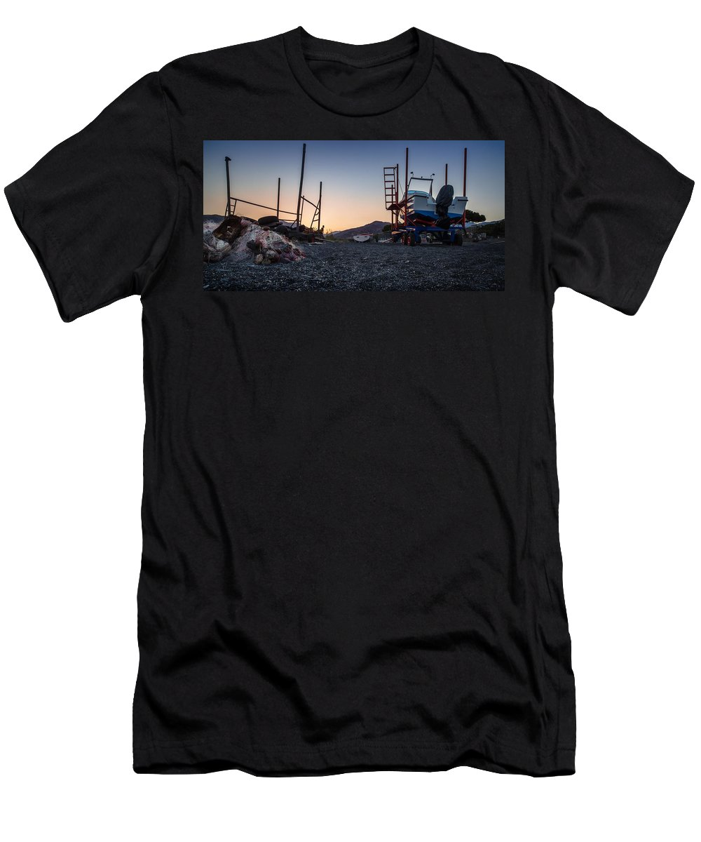 Boat Tractor Men's T-Shirt (Athletic Fit) featuring the photograph Resting Boats by Alfio Finocchiaro