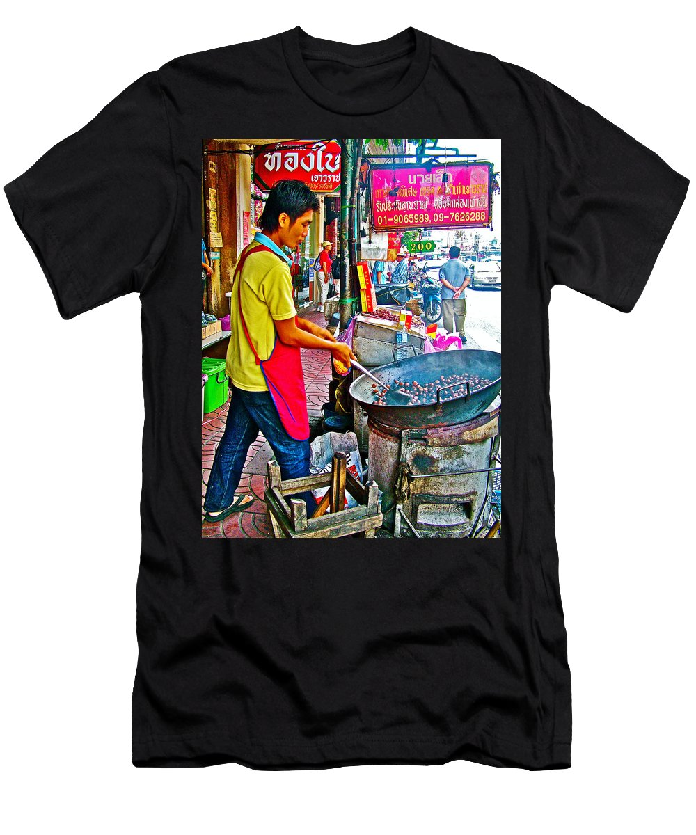 Roasting Chestnuts In China Town In Bangkok Men's T-Shirt (Athletic Fit) featuring the photograph Roasting Chestnuts In China Town In Bangkok-thailand by Ruth Hager