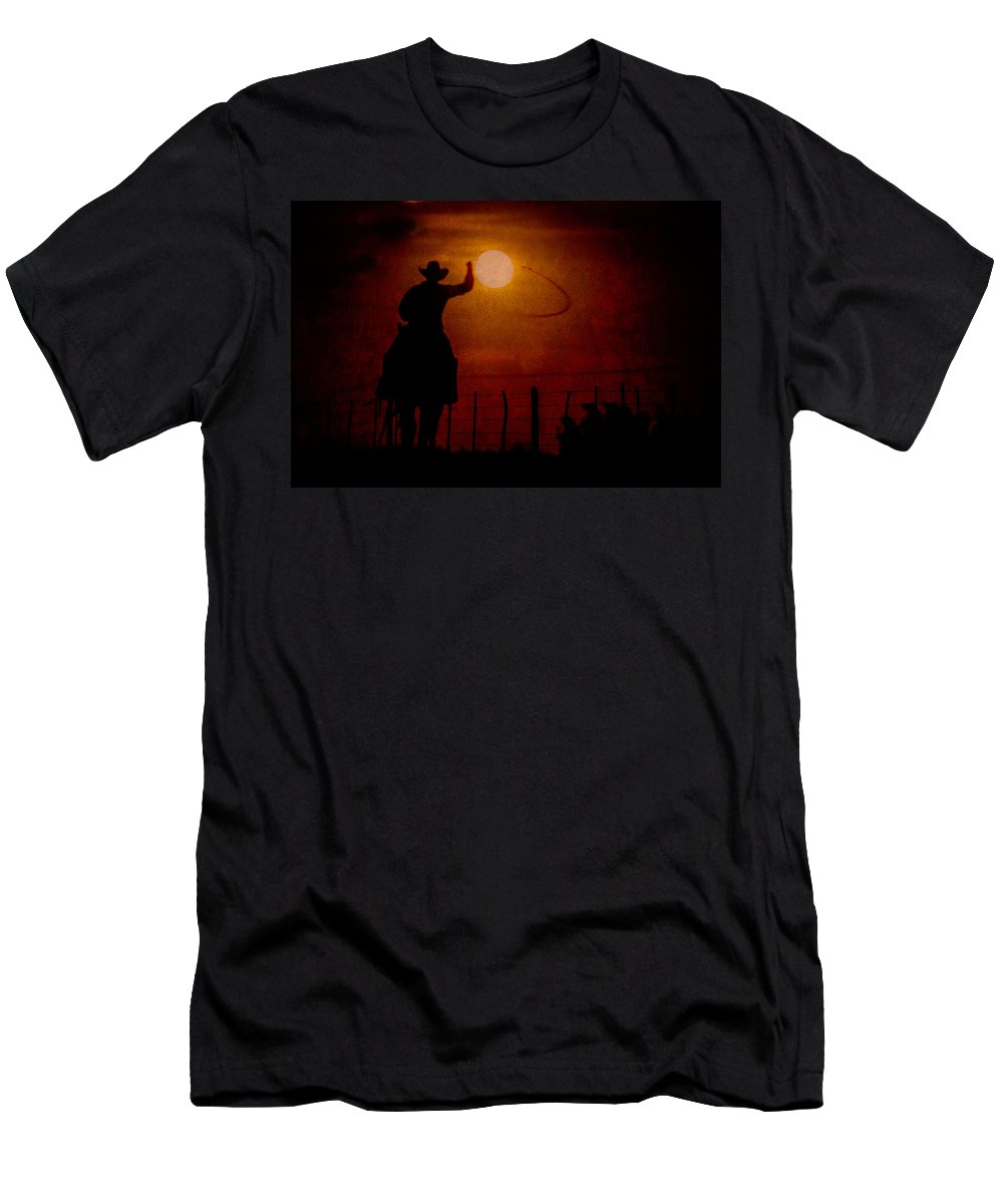 Quarter Horse Men's T-Shirt (Athletic Fit) featuring the photograph Ropin' The Moon by Kelli Brown