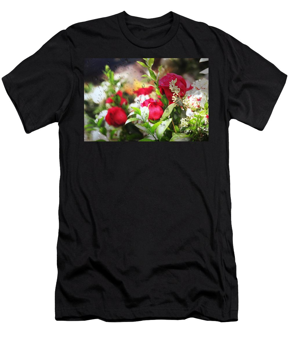 Roses Men's T-Shirt (Athletic Fit) featuring the photograph Roses In The Rain by Ericamaxine Price