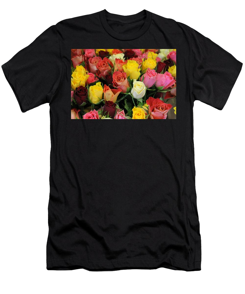 Flower Rose Roses Color Colorful Photograph Market Beauty Men's T-Shirt (Athletic Fit) featuring the photograph Roses by Steve K