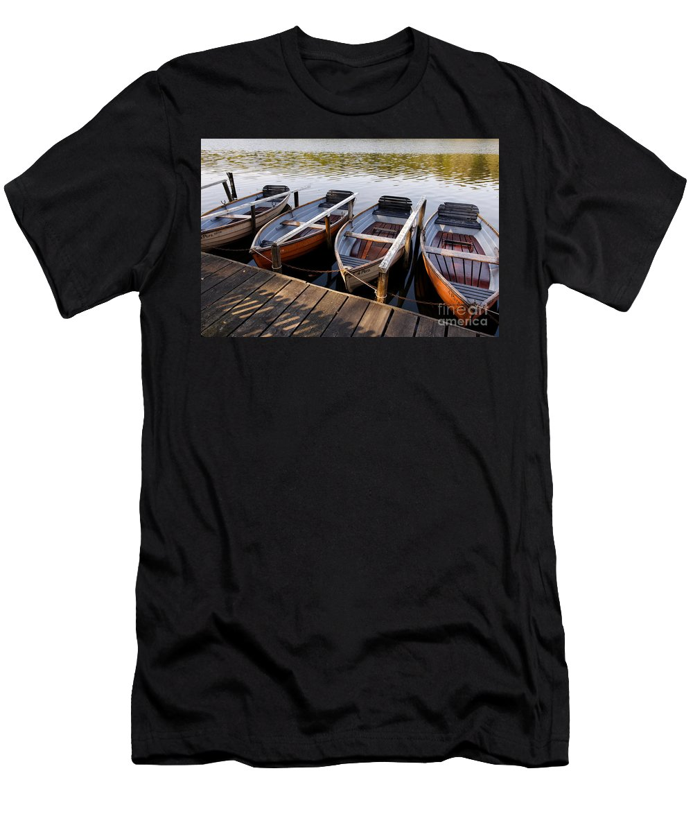 Afternoon Men's T-Shirt (Athletic Fit) featuring the photograph Rowboats by Jannis Werner