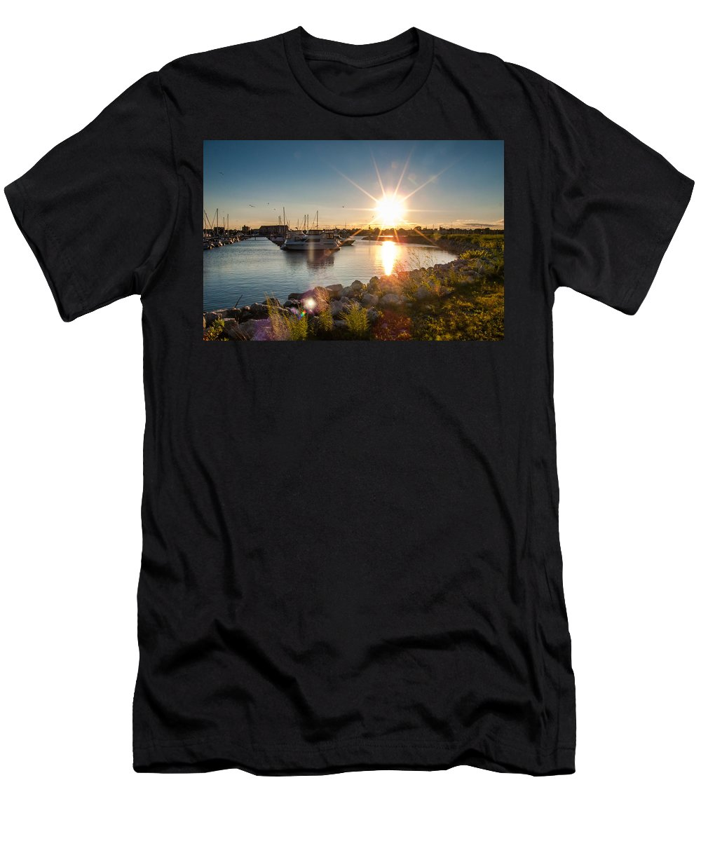 Sunset Men's T-Shirt (Athletic Fit) featuring the photograph Sailboat Pier In Lake Michigan Nature Scenary Near Racine Wisconsin by Jiayin Ma