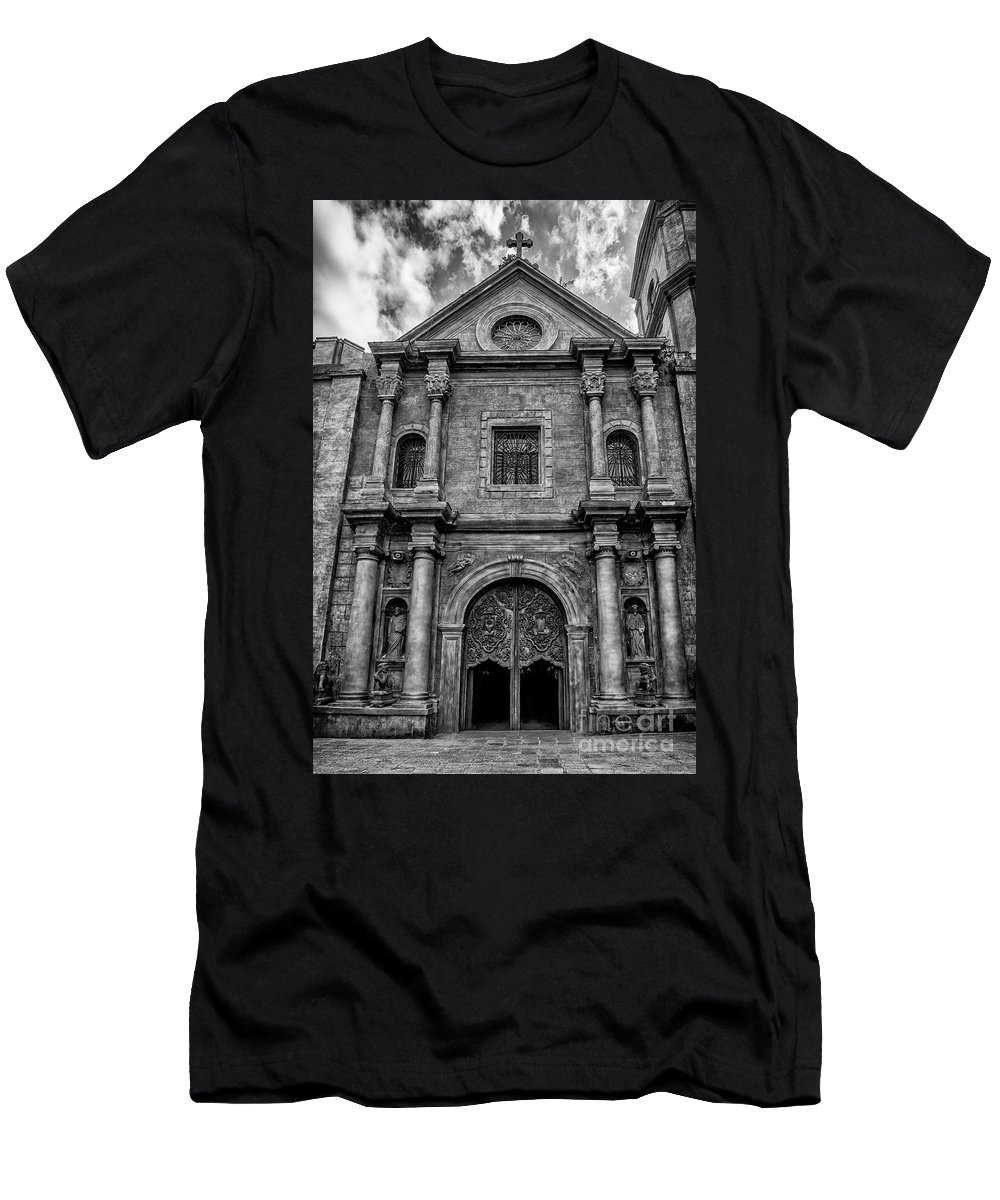 Catholic Men's T-Shirt (Athletic Fit) featuring the photograph San Agustin Church by Adrian Evans