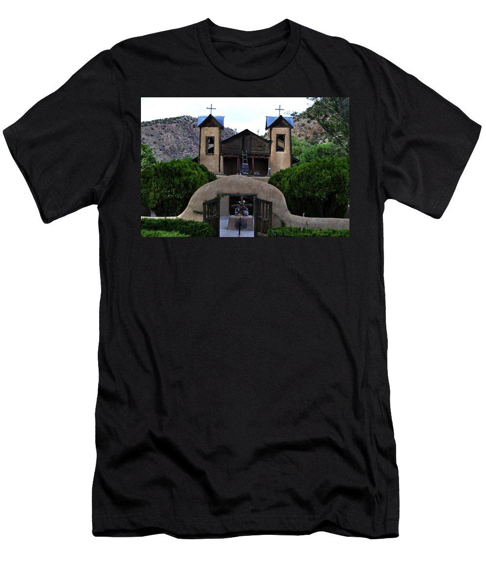 Santuario De Chimayo Men's T-Shirt (Athletic Fit) featuring the photograph Santuario De Chimayo by Pam Romjue