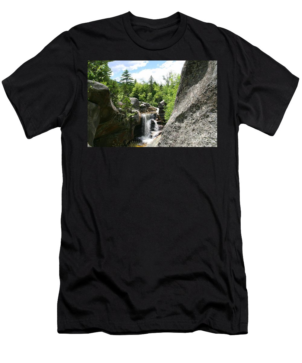 Waterfall Men's T-Shirt (Athletic Fit) featuring the photograph Screw Auger Falls At Grafton Notch State Park by Neal Eslinger