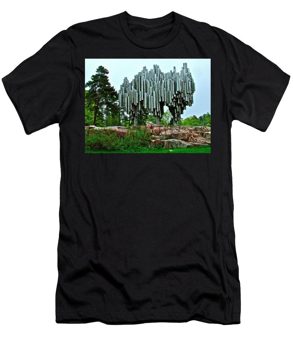 Sibelius Memorial Men's T-Shirt (Athletic Fit) featuring the photograph Sibelius Memorial Park In Helsinki-finland by Ruth Hager