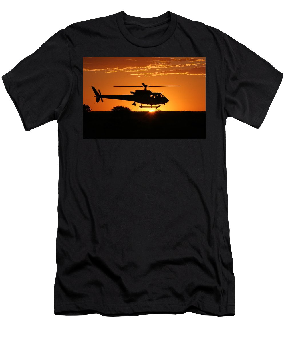 Eurocopter As350 B3 Men's T-Shirt (Athletic Fit) featuring the photograph Silhouette by Paul Job